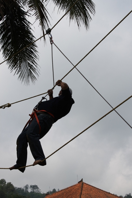high rope, two line bridge, www.outboundindonesia.com, 085855494440